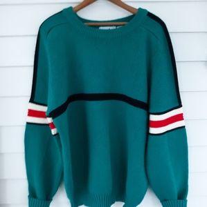 Men's Vintage Snowdrift Teal Ski Sweater Size XL